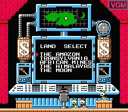 Menu screen of the game Duck Tales on Nintendo NES