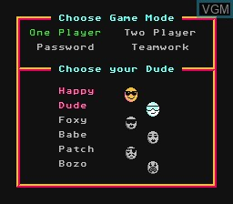 Menu screen of the game Dudes With Attitude on Nintendo NES