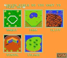 Menu screen of the game Dusty Diamond's All-Star Softball on Nintendo NES