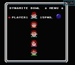 Menu screen of the game Dynamite Bowl on Nintendo NES