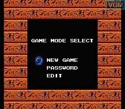 Menu screen of the game Egypt on Nintendo NES