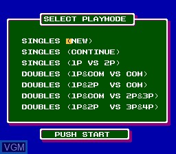 Menu screen of the game Top Players' Tennis - Featuring Chris Evert & Ivan Lendl on Nintendo NES