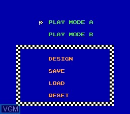Menu screen of the game Excitebike on Nintendo NES