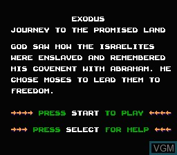 Menu screen of the game Exodus - Journey to the Promised Land on Nintendo NES