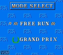 Menu screen of the game F-1 Sensation on Nintendo NES