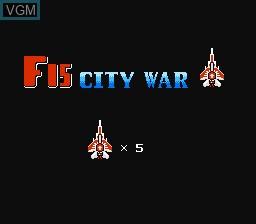 Menu screen of the game F-15 City War on Nintendo NES