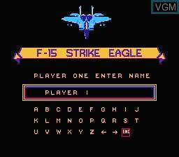 Menu screen of the game F-15 Strike Eagle on Nintendo NES