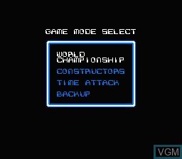 Menu screen of the game F1 Circus on Nintendo NES