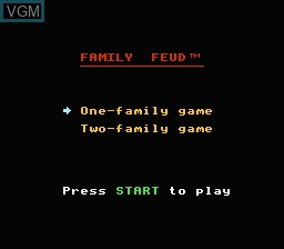 Menu screen of the game Family Feud on Nintendo NES