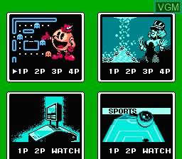 Menu screen of the game Family Pinball on Nintendo NES