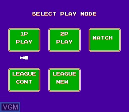 Menu screen of the game Famista '90 on Nintendo NES