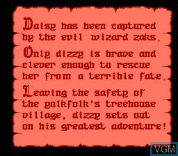 Menu screen of the game Dizzy The Adventurer on Nintendo NES