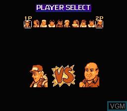 Menu screen of the game Fatal Fury 2 on Nintendo NES