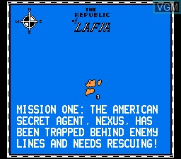 Menu screen of the game Fire Hawk on Nintendo NES