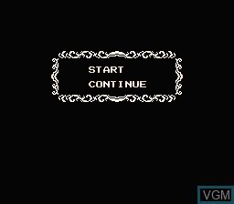 Menu screen of the game Frankenstein - The Monster Returns on Nintendo NES