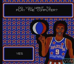 Menu screen of the game Harlem Globetrotters on Nintendo NES