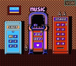 Menu screen of the game Hatris on Nintendo NES