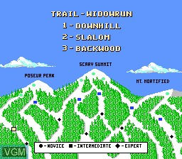 Menu screen of the game Heavy Shreddin' on Nintendo NES