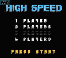 Menu screen of the game High Speed on Nintendo NES