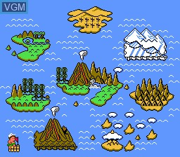 Menu screen of the game Adventure Island II on Nintendo NES