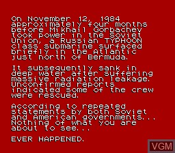 Menu screen of the game Hunt for Red October, The on Nintendo NES
