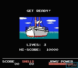 Menu screen of the game Jaws on Nintendo NES