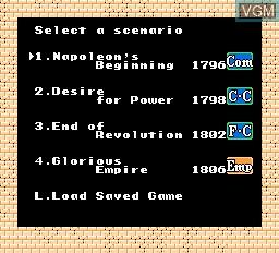 Menu screen of the game L'Empereur on Nintendo NES