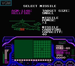 Menu screen of the game Laser Invasion on Nintendo NES
