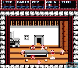 Menu screen of the game Legacy of the Wizard on Nintendo NES