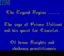 Menu screen of the game Legend of Prince Valiant, The on Nintendo NES