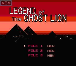 Menu screen of the game Legend of the Ghost Lion on Nintendo NES