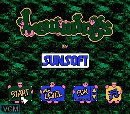 Menu screen of the game Lemmings on Nintendo NES