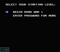 Menu screen of the game Mad Max on Nintendo NES