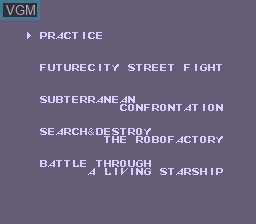 Menu screen of the game Uncanny X-Men, The on Nintendo NES