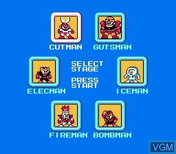 Menu screen of the game Megaman on Nintendo NES
