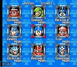 Menu screen of the game Megaman III on Nintendo NES