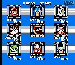 Menu screen of the game Megaman IV on Nintendo NES