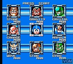 Menu screen of the game Megaman V on Nintendo NES
