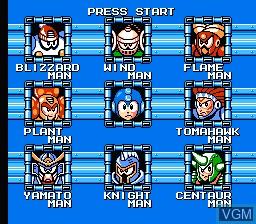 Menu screen of the game Megaman VI on Nintendo NES