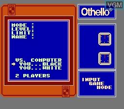 Menu screen of the game Othello on Nintendo NES