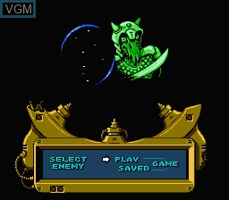 Menu screen of the game Overlord on Nintendo NES