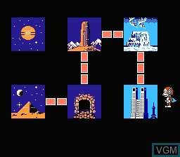 Menu screen of the game Paaman Part 2 - Himitsu Kessha Madoodan wo Taose! on Nintendo NES