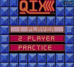 Menu screen of the game Qix on Nintendo NES
