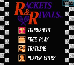 Menu screen of the game Rackets & Rivals on Nintendo NES