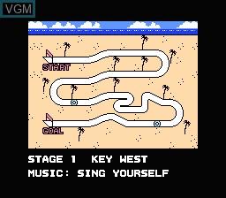 Menu screen of the game Rad Racer 2 on Nintendo NES