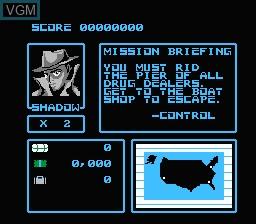 Menu screen of the game Raid 2020 on Nintendo NES