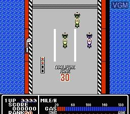 Menu screen of the game Rally Bike on Nintendo NES
