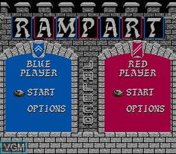Menu screen of the game Rampart on Nintendo NES