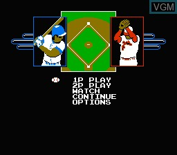 Menu screen of the game R.B.I. Baseball 2 on Nintendo NES