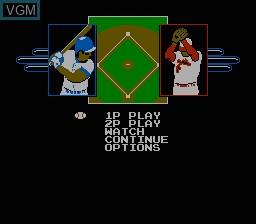 Menu screen of the game R.B.I. Baseball 3 on Nintendo NES